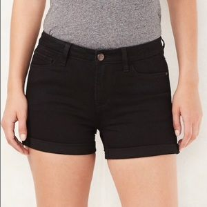 NWT LC Lauren Conrad Black RolledCuff Denim Shorts